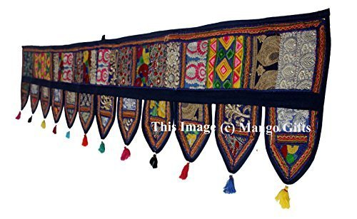 "Mango Gifts Handmade Indian Ethnic Wall Hanging Patchwork Window Valance 78"" Len"