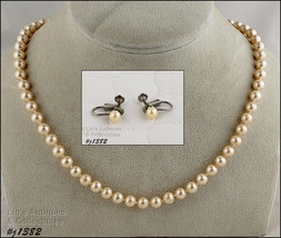 Vintage Faux Pearls Necklace and Earrings (#J1382) - $28.00