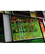 Stained Glass Window Panel Aspen Trees birch  Blue Green Gold fall colors - $137.61