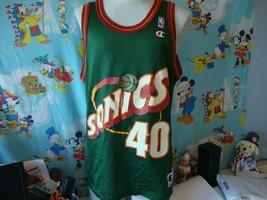 Vintage 90's Seattle Supersonics Shawn Kemp NBA Champion Jersey 44 - $84.15