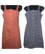 Universal Thread Goods Denim Bib Button Dress Blue White Stripe Peach 2-... - $16.99