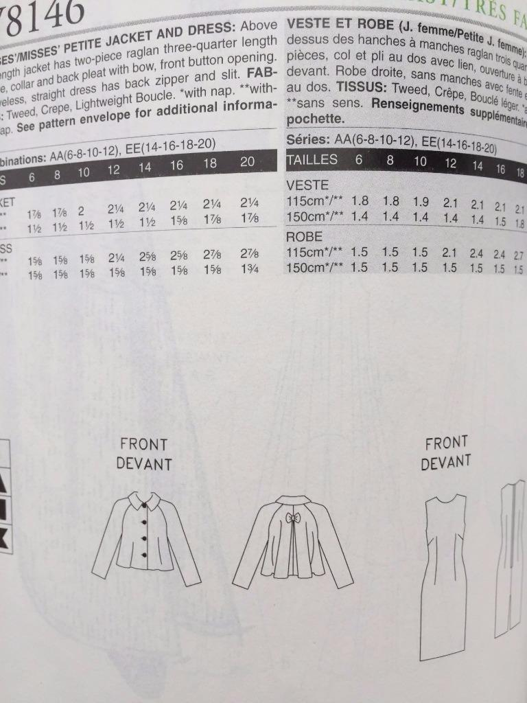 Vogue Sewing Pattern 8146 Ladies Misses Dress Jacket Size 14-20 New