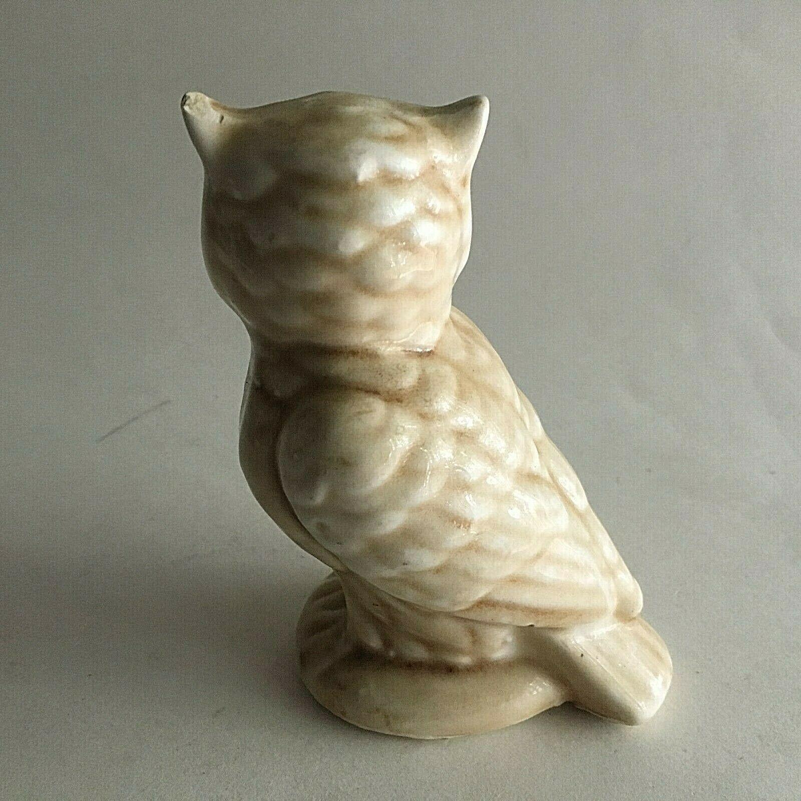 "Vintage Owl Ceramic Figurine Statue  4.75X3X2"" Mid Century Collectible"