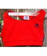 Adidas Coolmax T Top Size L Orangy Red Tangerine Blue Stripes - $16.00