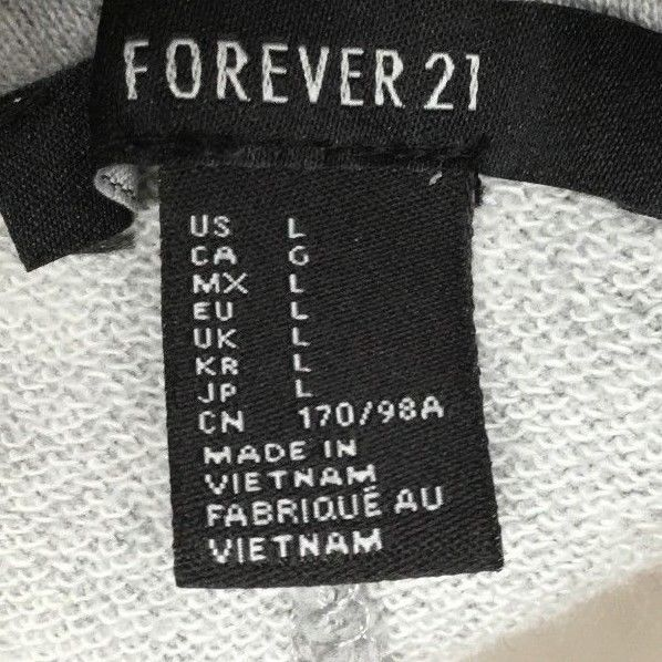 Forever 21 Juniors Sz L Gray Sweatshirt Sweat Shirt Jumper Dress With Letters