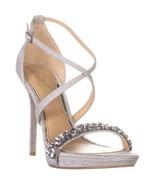 Jewel Badgley Mischka Dany Cross Strap Sandals, Silver Glitter - $42.99