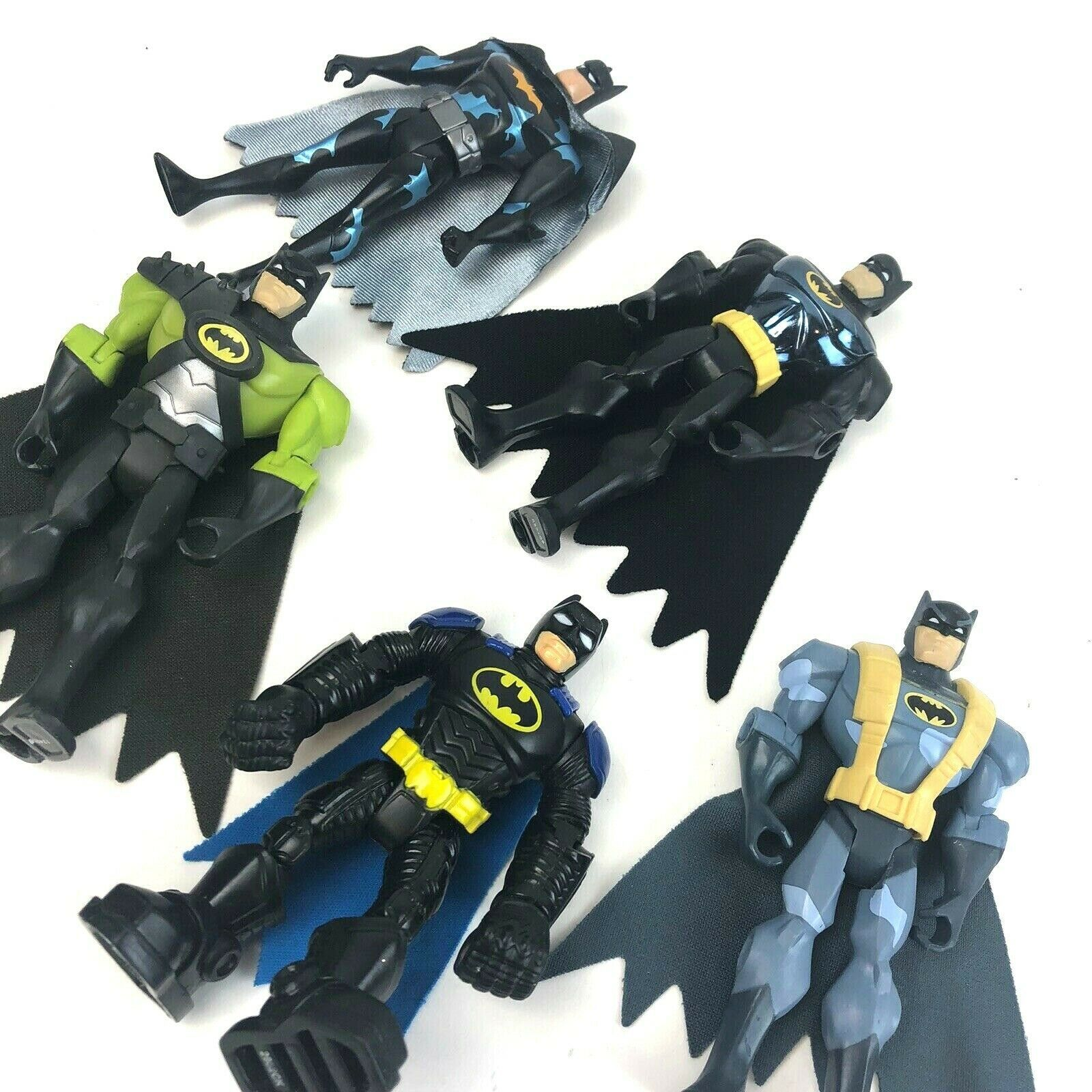 "Primary image for  BATMAN Action Figure Lot DC Comics 5 Batman 5"" Green Metallic Gray Capes"