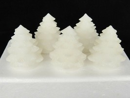 Flameless Candle Figural Christmas Trees Set of 5 White Glittery Wax 2.5... - $29.69