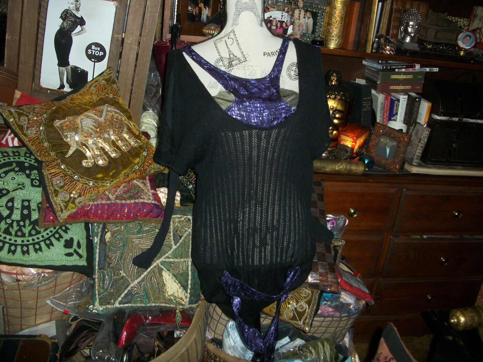 Primary image for CUSTO BARCELONA Sassy Black Knit Blouse Size 2