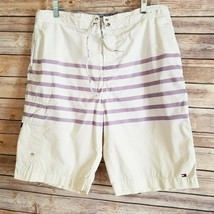 Tommy Hilfiger Mens Striped Board Shorts Embroidered Flag Size L EUC - $16.67