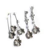 Everyday Earrings, Floral Earrings, Silver Flower, Silver Tone Earrings,... - $16.00