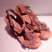 Guess Cork Platform Wedge Open Toe Sandals Coral, Tassels Women's US Siz... - $19.79
