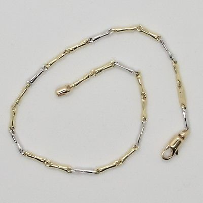 BRACELET GOLD 18KT 750 YELLOW AND WHITE IN MAGLIE ROUND MADE IN ITALY 20 CM