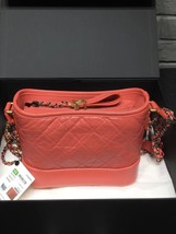 NWT AUTH Chanel 2019 Red Quilted Calfskin Small Gabrielle Hobo Bag GHW image 2