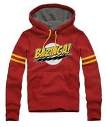 The Big Bang Theory Bazinga! Logo Red Hoodie with Stripes Size XLARGE NE... - $43.53