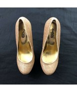Charlotte Russe Glitter Platform Stiletto Gold Womens Sexy Bling Shoes P... - $24.75
