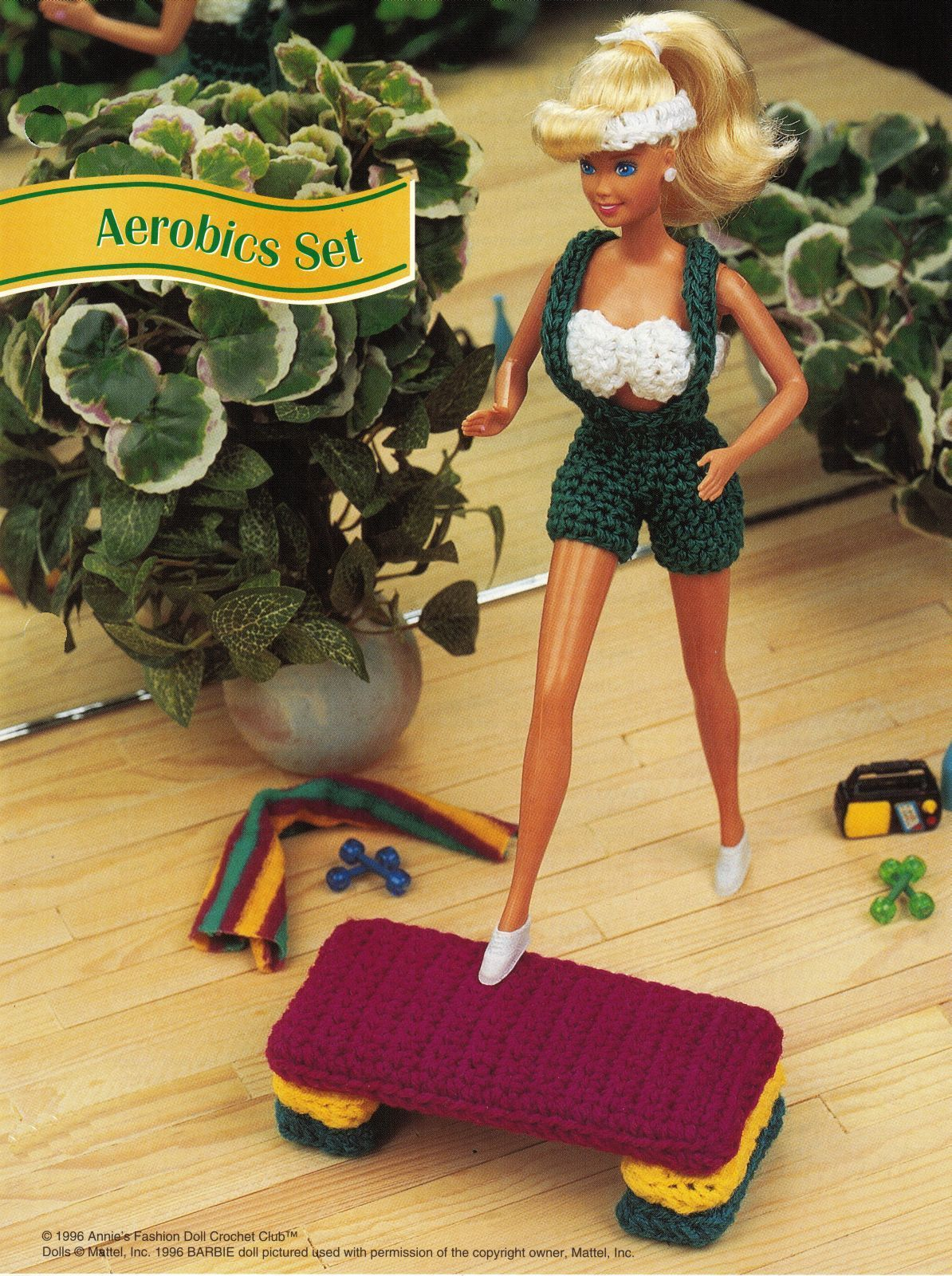 "5X Barbie 11-1/2"" Doll Beach Aerobics Exercise Time Andy The Dog Crochet Pattern image 5"