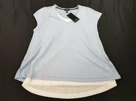 new JONES NEW YORK women shirt top linen JMMMJ66448 sky blue white S MSR... - $18.99