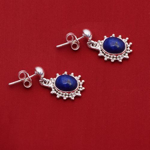 Lapis Lazuli 925 Sterling Silver Stud Earring Shine Jewelry SHER0792