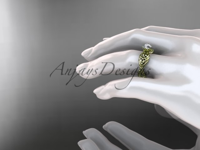 Unique center stone setting ring, Celtic engageent ring, 14kt yellow gold rope c