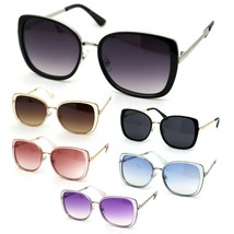 Womens Double Rim Chic Designer Rectangular Cat Eye Sunglasses - $12.95