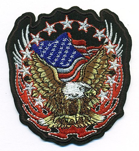 American Eagle and American Flag MAGA Proud Embroidered Iron On Patch for Hat Je