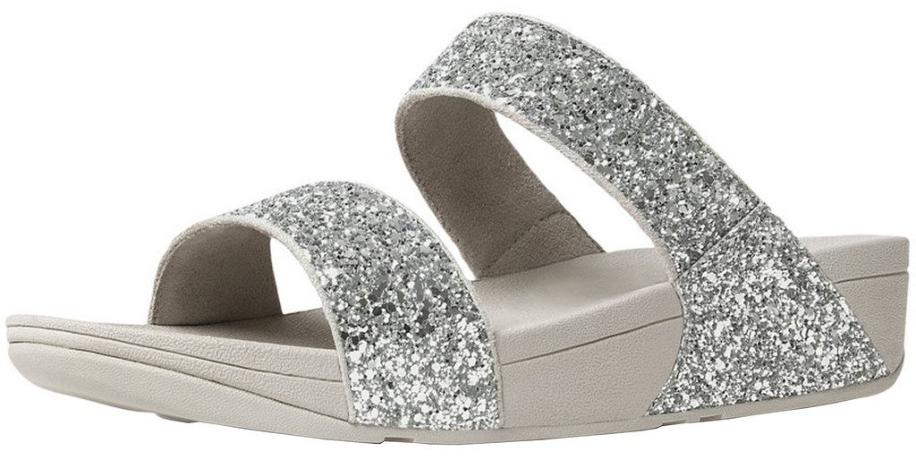 FitFlop™ Womens Glitterball&Trade; Slide Sandals Silver Size 8