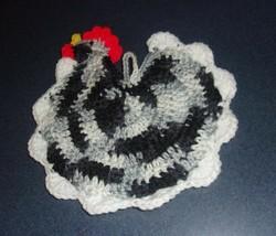 Brand New Crocheted Black White Chicken Hen Pot Holder For Dog Rescue Ch... - $10.39