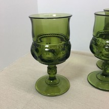 "COLONY GLASS SET OF 4, THUMBPRINT GLASSES, GREEN, 5 3/4"" TALL, VINTAGE - $3.96"