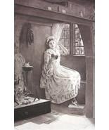 LOVELY MAIDEN Reading Book in Corner Window - Antique Print - $14.85