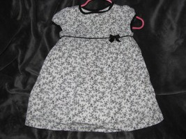 Janie & Jack Dress Baby 6-12 Mo Layette Black & White Nordic Floral Cap ... - $21.77
