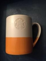 Starbucks 2014 Siren Coffee Mug Orange and White Etched Mermaid Hand Dipped - $4.72