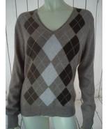 APT 9 Cashmere Sweater M Brown Tan Argyle V-Neck Pullover Lightweight Knit - $47.52
