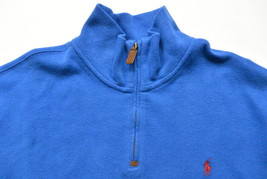 Polo Ralph Lauren Sweater XXL French Rib Half Zip Mock Neck Royal Blue P... - $59.95