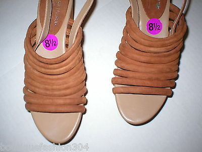 New $235 Womens 8.5 Donald J Pliner Wedge Platform Sandals Brown Shoes Suede image 4