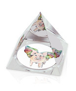 "Flying Pig Colorful Illustration Animal Art 2"" Crystal Pyramid Paperweight - £11.78 GBP"
