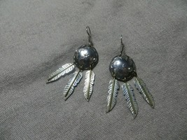 Southwestern Dangle Concho/Feather Hook Earrings Sterling/Brass Taxco Me... - $39.99