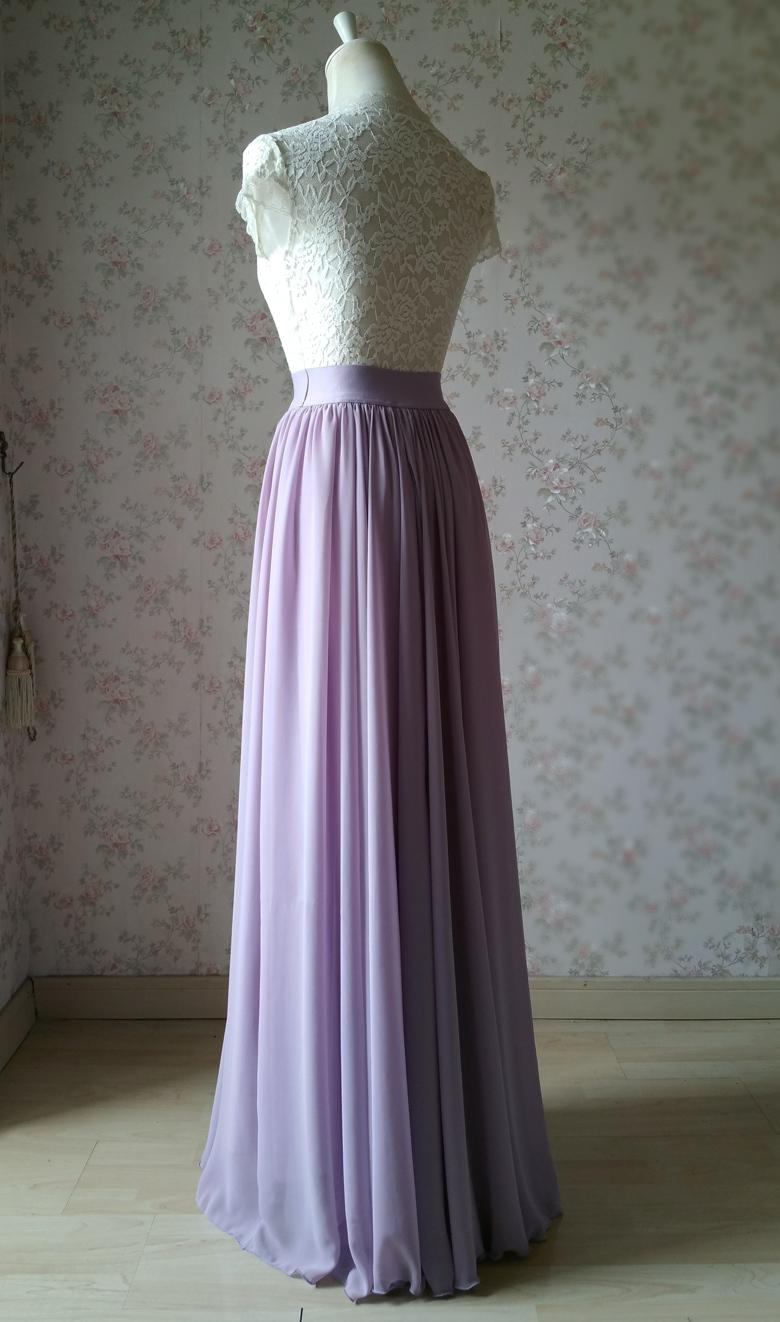 Chiffon maxi skirt wedding lavender 780 5