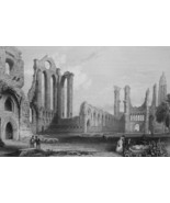 1853 PRINT: Scotland Arbroath Abbey & AD: Furniture Makers Ohio Burley &... - $16.20