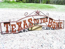 Metal TEXAS to the BONE Sign Wall Entry Gate 44 3/4 inch bz - $124.98
