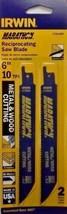 "Irwin 372610P2 6"" x 10 TPI Metal & Wood Reciprocating Cutting Blades 2 Pack USA - $2.23"