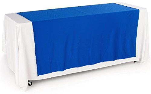 Displays2go Tradeshow Table Runner, Polyester Fabric, Blue Fabric (TRBL3024HR)