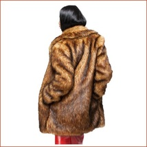 Luxury Roaring Twenties Big Muskrat Coat Turn Down Collar Imitation Faux Fur image 3