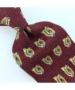 UNICEF USA TIE GEOMETRIC Floral MAROON Brown Gold Silk Necktie Mens Ties... - $15.83