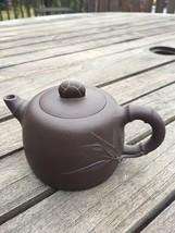 Chinese Black Clay Yixing Teapot, Bamboo Motif, Marked Base - $490.05