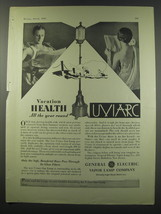 1930 General Electric Vapor Lamp Univarc sun Lamp Ad - Vacation Health - $14.99