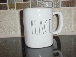 Rae Dunn PEACE Mug, Ivory with Black Lettering - $12.00
