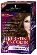 Schwarzkopf Keratin Color Anti-Age Hair Color Cream, 6.5 Light Golden Brown Pack - $10.42