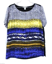Kenneth Cole Snakeskin Print Blouse Career L NWOT Bright Colors animal P... - $23.00