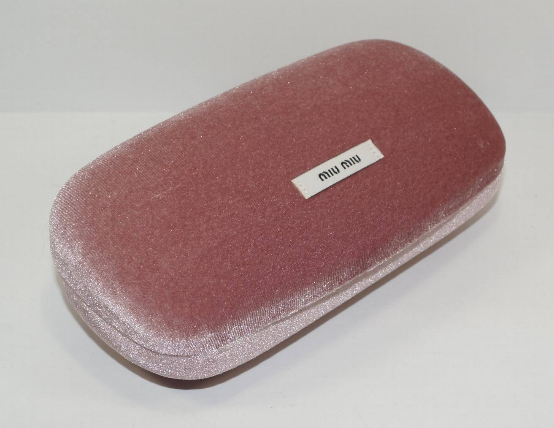 d5cf79cba479 NEW AUTH MIU MIU PINK VELOUR CLAM SHELL HARD SUNGLASSES EYEGLASSES CASE  w/BOX